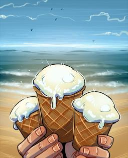 Постер к Мороженное в вафельных стаканчиках